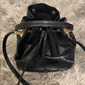 TopShop Black Faux Snake Bucketbag